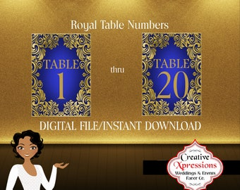 Royal Table Numbers   Royal Blue and Gold   Royal Baby Shower   Table Numbers   Table Signs