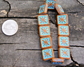 Czech Glass 15mm Coffee Turquoise Square Compass Beads (12)