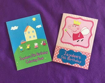 12 Personalized Peppa Pig Coloring Books / with Crayons, Party Favors