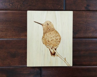 Hummingbird on branch wood wall art/hanging