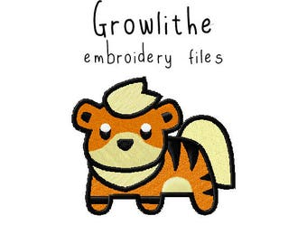 Pokemon Growlithe EMBROIDERY MACHINE FILES pattern design hus jef pes dst all formats Instant Download digital applique kawaii cute