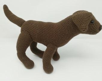 Large Crocheted Labrador Soft Toy chocolate Labrador