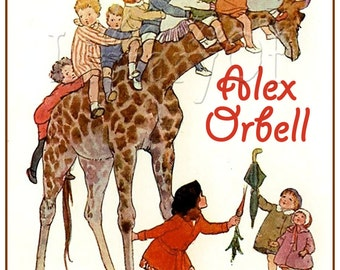Going Up - Kids on a Giraffe - STICKERS - Personalized Vintage Bookplate