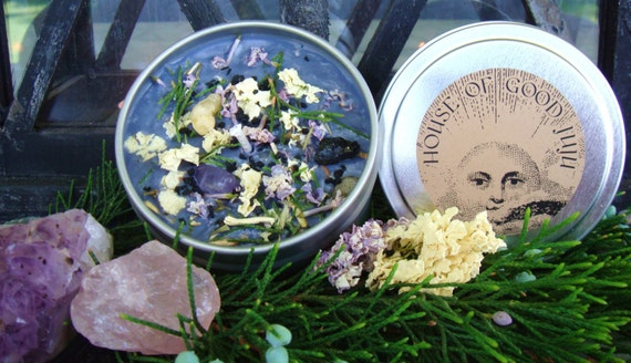 Banish and Protect Sanctuary Candle infused with Amethyst, Black Tourmaline, and Rose Quartz
