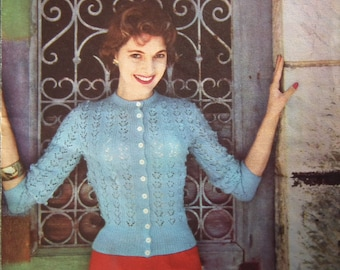 "Vintage Knitting Pattern 1950s Women's Lacy Cardigan 50s original pattern Lavenda Hand Knit 635 UK - S Small 32"" Bust"