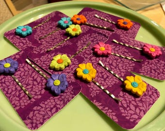 Hippy Flower 2pc Bobby Pin Sets (Colors Sold Individually)