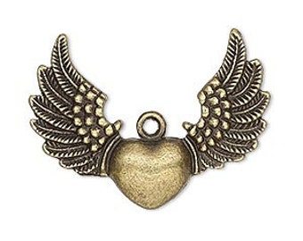 Winged Heart Charm, antiqued  brass charm, Steampunk, winged heart, Biker wing, boho pendant, 35x26mm, 2 each, D611
