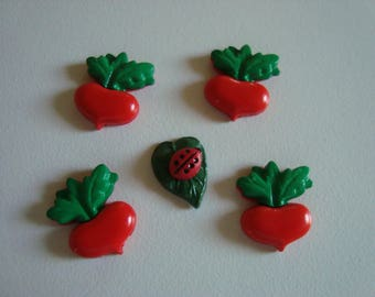 5 small vegetables to paste garden - vegetables radish leaf Ladybug theme - red and green
