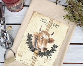 Flour Sack Towel, Flour Sack Dish Towel, Flour Sack Kitchen Towels, Tea Towels, Farmhouse Kitchen, Dish Towels, Cow lover gift, Dairy Farm