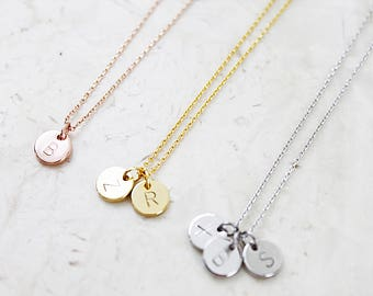 Engraved Tiny Circle Charm Necklace