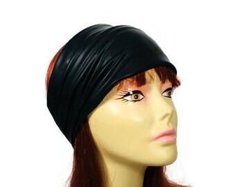 CUSTOM SIZE Goth Head Wrap Goth Headband Black Faux Leather Headband Black Faux Leather Head Wrap Chef's Headgear Bikers Black Headwrap