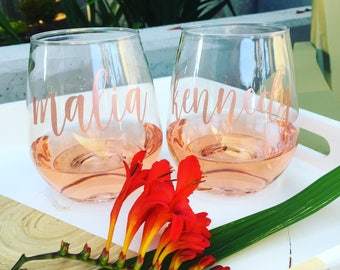 ROSE GOLD Personalized Stemless PLASTIC Wine Tumbler - Bridal, Bachelorette - Shower - Tossware - Personalized Stemless Wine - Party cup