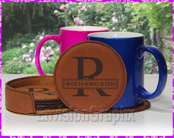 Personalized Custom Engraved Leatherette Set of 6 Round Coasters New Couples Name Letter Gift