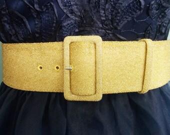 wide GOLD belt - fabric covered buckle - fabric belt -  gold belt - wide belt - plus size - 2 inch wide