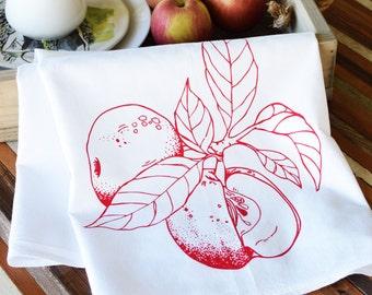 Tea Towel - Screen Printed Flour Sack Towel - Apple - Absorbent Dish Towel - Eco Friendly Cotton - Classic Flour Sack Towel - Kitchen Towel