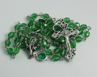 Green Catholic Rosary, Confirmation Gift, Baptism, First Communion