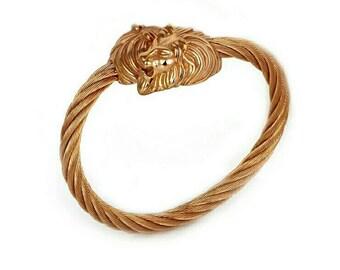 Lion head bangle cuff bracelet, 316L stainless steel