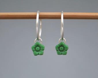 Vintage green fleur hoops