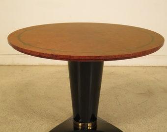 "F44262EC: Biedermeier Style 44"" Round Walnut & Black Dining Table"