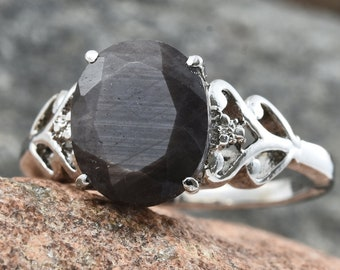 Natural Silver Sapphire Ring - Size 8