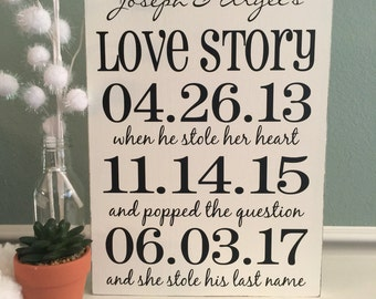 WEDDING Important Date Sign | Bridal Shower Gift | Love Story Black & White | Engagement Gift | New Couple gift |  Wedding Gift Decor