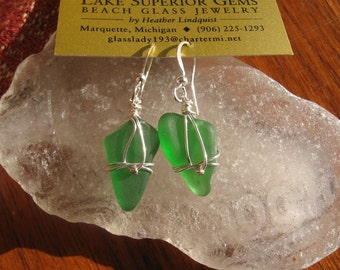 Fresh Green Lake Superior Beach Glass Earrings