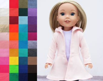 Fits like Wellie Wishers Doll Clothes - Hoodie Swing Jacket, You Choose Color | 14.5 Inch Doll Clothes