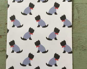 Black Dog Gift Wrapping Paper.  Scotty Dog Folded Wrapping Paper. Gift Wrap. Dog Wrapping Paper. Birthday Wrapping Paper (68X50cm)