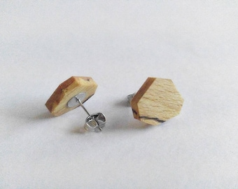 Geometric Stud Earrings, Beech Wood, Earrings for Women, Gift For Her, Wooden Earrings, Minimalist Earrings, Wooden Jewelry, Unique Earrings