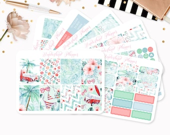 Vintage Summer - Sticker Kit or A La Carte Sheets - Retro Beach Themed Planner Weekly Kit - 180+ Stickers - Erin Condren Vertical Planner