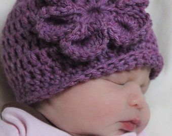 Learn to Crochet Hat Pattern: Beginner Beanie with Flower, 'My First Hat'