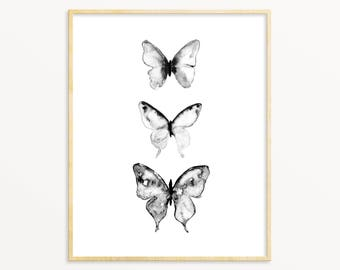 Watercolor Butterfly Art.  Butterflies.  Decor.  Nursery Decor.  Black and White.