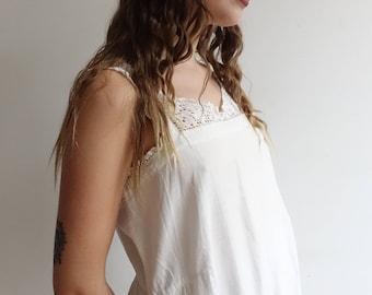 Antique Edwardian White Cotton Nightgown/ 1900s 1910s Chemise Corset Cover White Dress/Crochet Bodice/ Medium Large