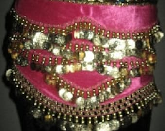 Pink VELVET With GOLD Coins RATTLING Hip Scarf