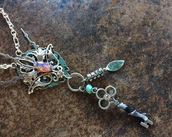 Pendant Necklace Steampunk Celtic Fantasy Fleur di Lis