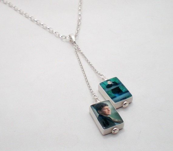 2 Dangling Photo Charms on a Sterling Chain - C4x2N