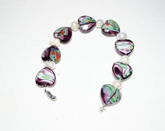 Purple Glass Heart and Freshwater Pearl Bracelet