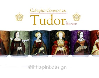 Set of six ceramic cup -  Henry VIII wives - Tudor Consort