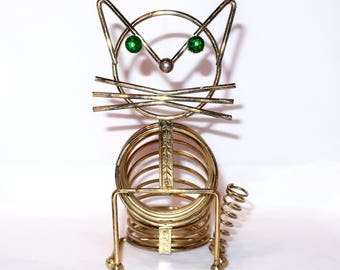 Vintage CAT LETTER HOLDER Coil Spring Green Rhinestone Eyes Seated Sitting Gold Tone Bill Pen Office Organizer Mid Century Modern Brass Gift
