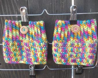 Rainbow Boot Cuffs - Crochet Boot Cuffs - Boot Toppers - Leg Warmers - Knee Warmers - Fall Winter Fashion