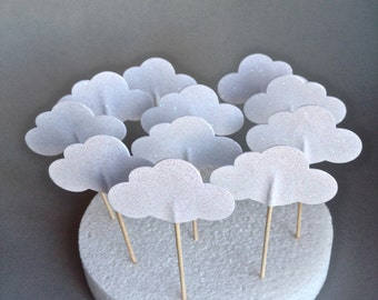 Set Of Twelve Shimmery White Glitter Clouds Cupcake Toppers - Baby Shower - Bridal Shower