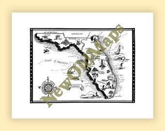 Lake okeechobee map etsy florida vintage 1960s illustrated map digital download state wall art do it yourself color arrange modify adjust to suit or not solutioingenieria Image collections