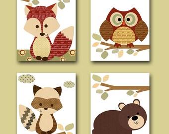 Baby Boy Nursery Decor Childrens Art Print Baby Nursery Print Owl Nursery Fox Nursery Bear Nursery Baby Wall Art set of 4 Red Green