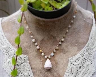 Hawaiian Beach Jewelry, Mermaid Shell Crochet Necklace, Hawaii Cone Surfer Necklace, Graduation Gift, Destination Honeymoon Gift, Beach Boho