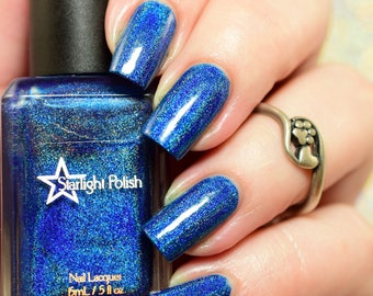 Winter Skies Blue Holographic Winter Holodays Cool Holo Indie Nail Lacquer Starlight Polish