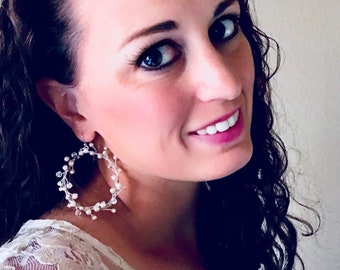 Pearl bridal hoop earrings, statement earrings. Wedding hoop earrings, large pearl earrings, WILLOW