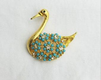 Jahrgang Schwan gold-Ton blau türkis Perlen Brosche