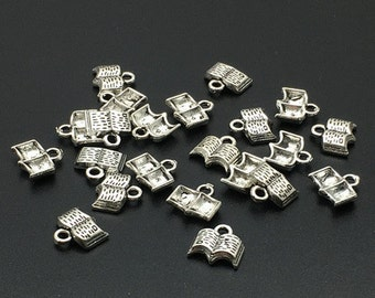 50pcs  Antique Silver Book  Charms , Book Pendant  ,  Book Necklace,