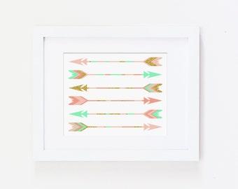 Arrow Art Print, Nursery Art Print - Mint and Coral Nursery Art, Mint Nursery - Tribal Nursery Decor, Tribal Art Print - Instant Download