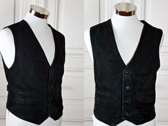 Swedish Vintage Leather Vest, 1980s European Black Leather Waistcoat, Motorcycle Biker Hipster Vest: Size Medium, 36-38US/UK